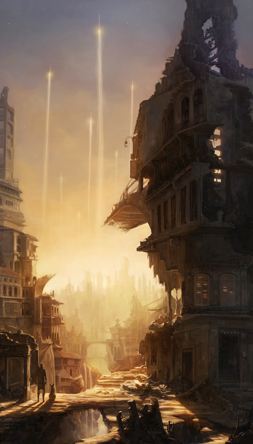 Abandoned City, Matte Painting in Stunning Post Apocalypse Artworks