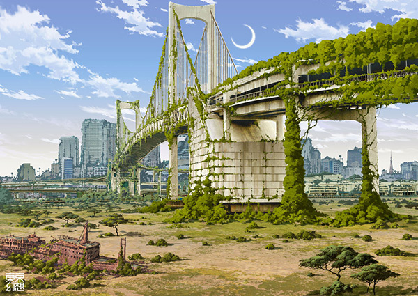 Rainbow Bridge in Stunning Post Apocalypse Artworks