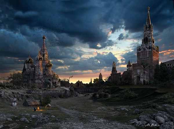 Red Square - Sunset in Stunning Post Apocalypse Artworks