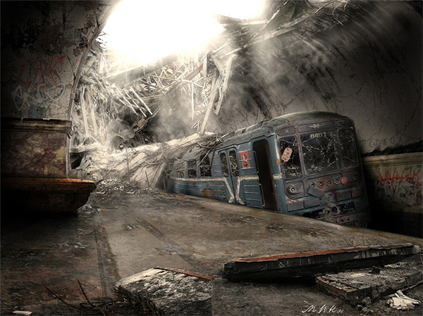 Sokol metro station, Moscow in Stunning Post Apocalypse Artworks