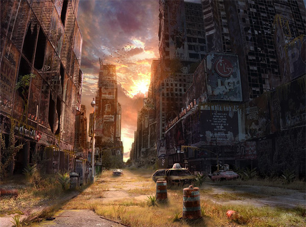 Sunset on the Times Square in Stunning Post Apocalypse Artworks