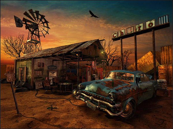 The Abandoned Gas Station in Stunning Post Apocalypse Artworks