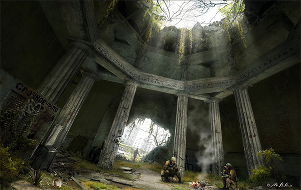 Under the roof of the hall in Stunning Post Apocalypse Artworks
